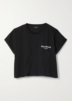 Balmain Cropped Flocked Cotton-jersey T-shirt