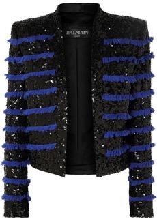 Balmain Cropped Fringed Sequined Tweed Jacket