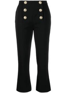 Balmain cropped logo button trousers