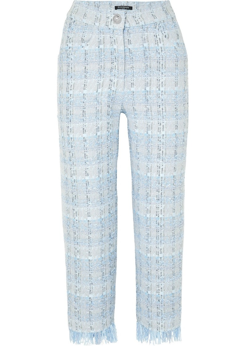 Balmain Cropped Metallic Tweed Straight-leg Pants