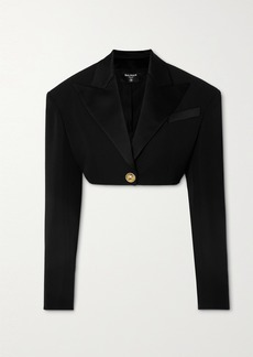 Balmain Cropped Satin-trimmed Grain De Poudre Wool Jacket