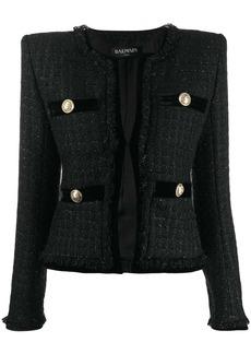 Balmain cropped velvet blazer
