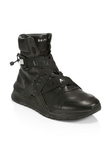 Balmain Crossover Buckle High-Top Leather Sneakers
