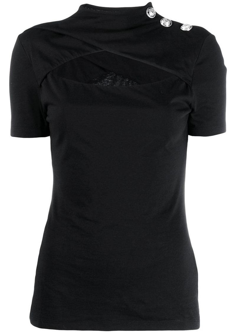 Balmain cut-out mock-neck T-shirt