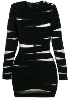 Balmain stripe bandage bodycon dress