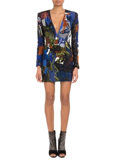 Balmain Deep-V Long-Sleeve Graffiti-Embellished Mini Cocktail Dress