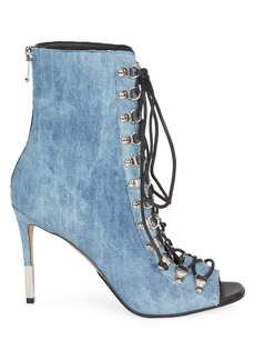 Balmain Denim Lace-Up Peep-Toe Booties