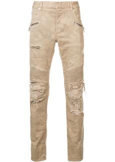 Balmain destroyed camouflage print biker jeans