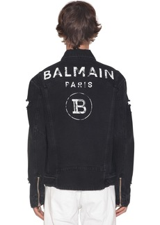 Balmain Destroyed Logo Print Cotton Denim Jacket
