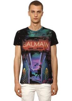 Balmain Destroyed Printed Cotton Jersey T-shirt