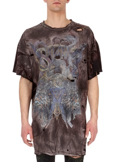 Balmain Distressed Faded-Graphic T-Shirt