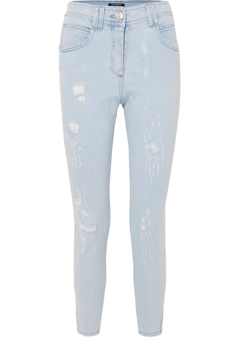 Balmain Distressed Mid-rise Skinny Jeans