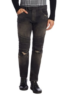Balmain Distressed Skinny Fit Biker Jeans