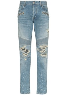 Balmain distressed tapered jeans