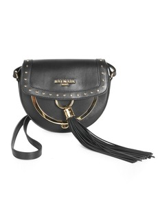 Balmain Domaine 18 Studded Glovetanned Leather Saddle Bag