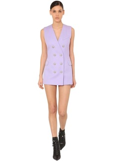 Balmain Double Breast Grain De Poudre Mini Dress