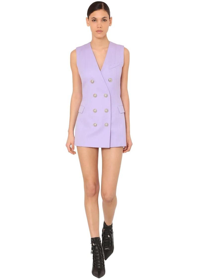 Balmain Double Breast Grain De Poudre Mini Dress