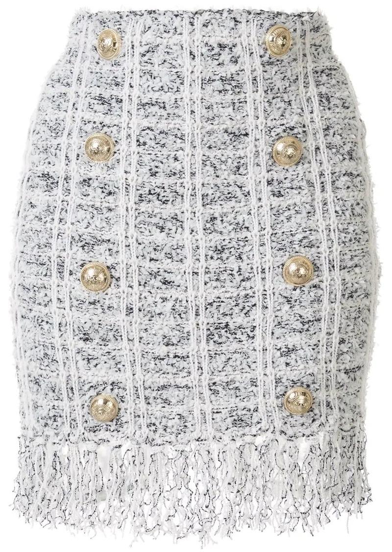 Balmain double breasted boucle mini skirt