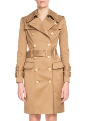 Balmain Double-Breasted Golden-Button Belted Trench Coat