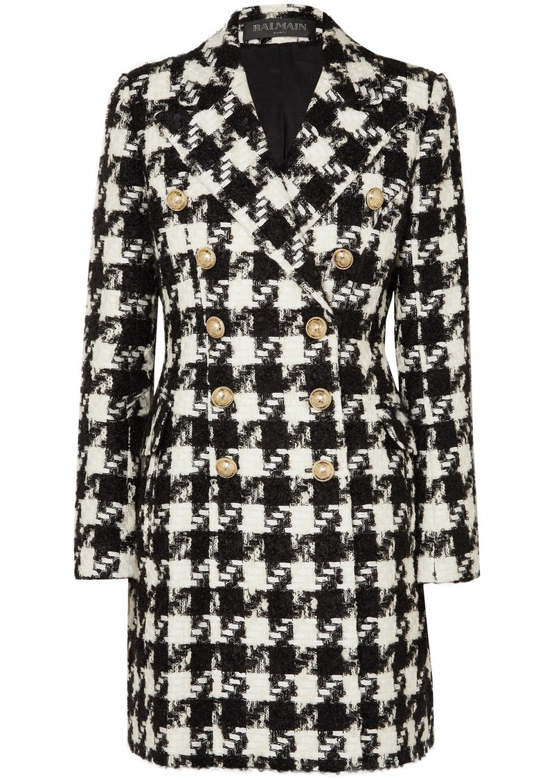 Balmain Double-breasted Houndstooth Tweed Coat
