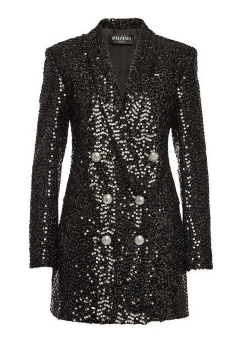 Balmain Double-Breasted Sequin Blazer
