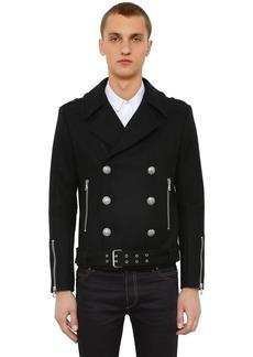 Balmain Double Breasted Wool Blend Biker Jacket