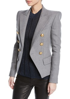 Balmain Double-Breasted Wool-Cashmere Flannel Blazer