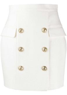 Balmain double-buttoned straight skirt