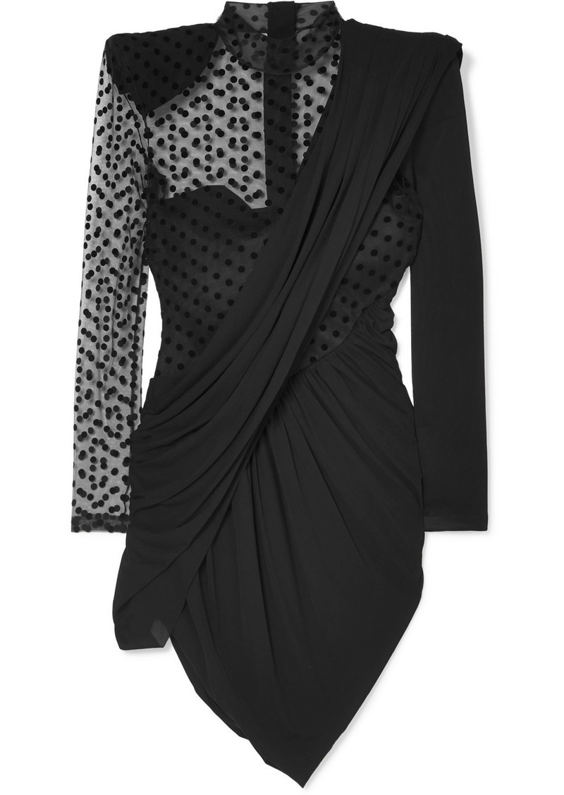 Balmain Draped Crepe And Polka-dot Flocked Tulle Mini Dress