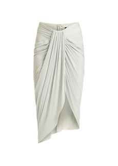 Balmain Draped Jersey Midi Skirt