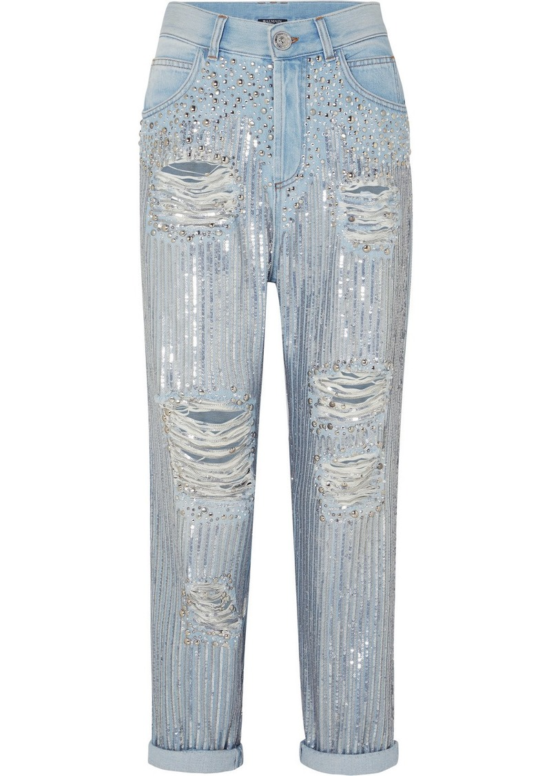 Balmain Embellished Distressed Boyfriend Jeans