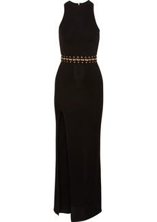 Balmain Embellished Stretch-knit Maxi Dress