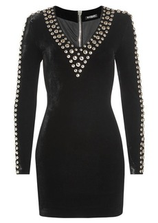 Balmain Embellished Velvet Dress with Silk