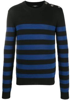 Balmain embossed buttons striped jumper