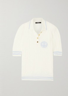Balmain Embroidered Cable-knit Merino Wool Polo Shirt
