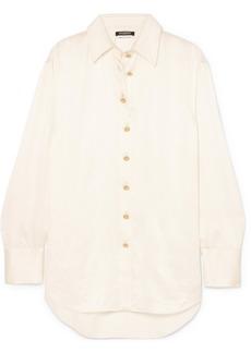 Balmain Oversized Crinkled Silk-satin Shirt