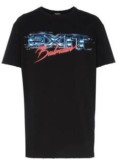 Balmain Exit and logo print cotton t-shirt