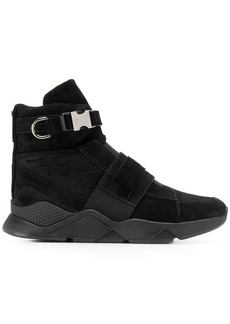 Balmain Faust mesh and leather high-top sneakers