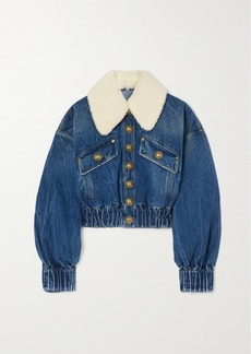 Balmain Faux Shearling-trimmed Denim Jacket