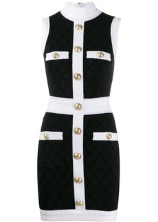 Balmain fitted diamond pattern dress