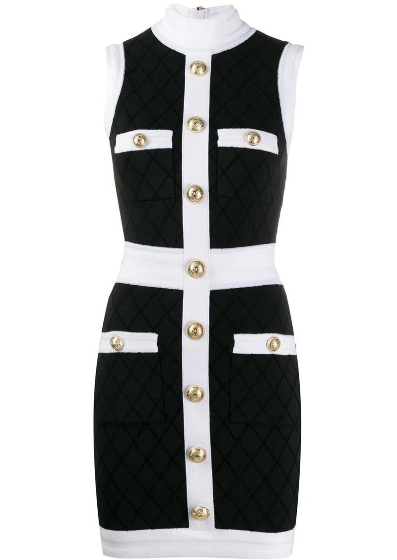 Balmain fitted diamond pattern dress