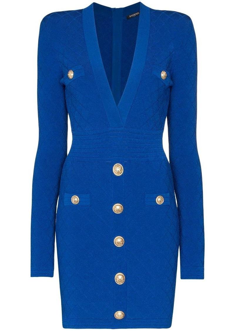 Balmain Fitted v-neck mini dress