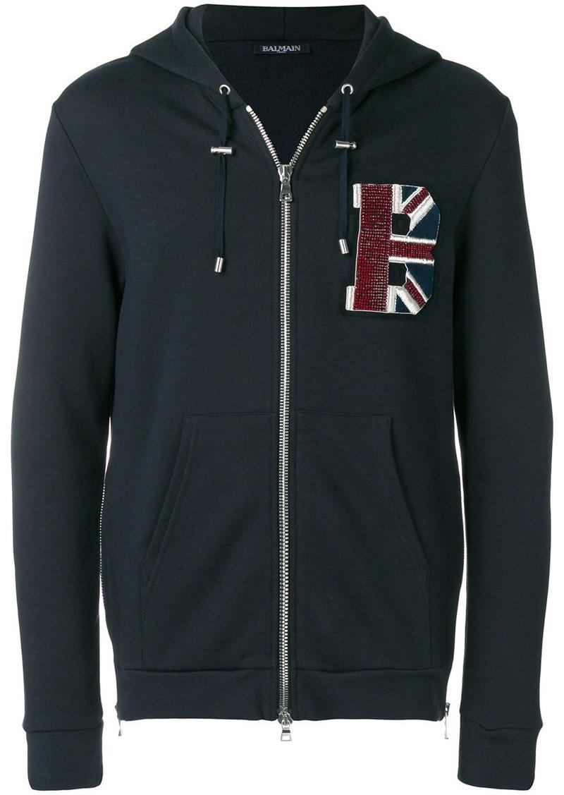 Balmain flag patch hoodie