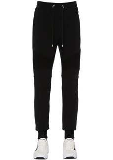 Balmain Flocked Biker Cotton Jersey Sweatpants