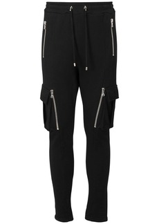 Balmain Flocked Logo Cotton Sweatpants W/ Zips