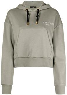 Balmain flocked-logo cropped hoodie