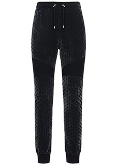 Balmain Flocked Monogram Jersey Sweatpants