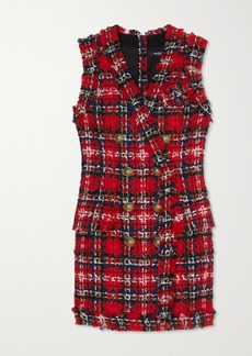 Balmain Frayed Checked Tweed Mini Dress