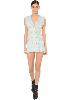 Balmain Fringed Double Breast Tweed Mini Dress