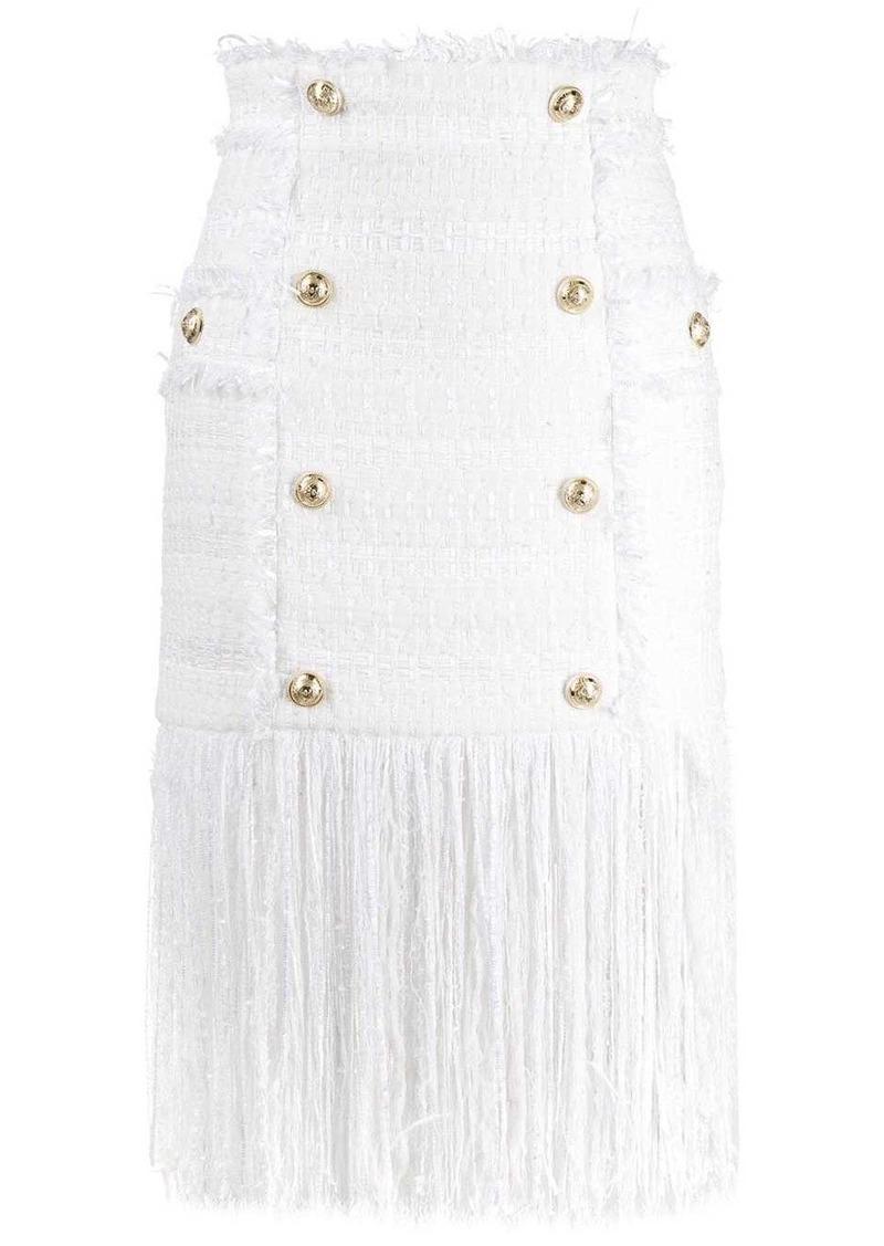 Balmain fringed fitted skirt